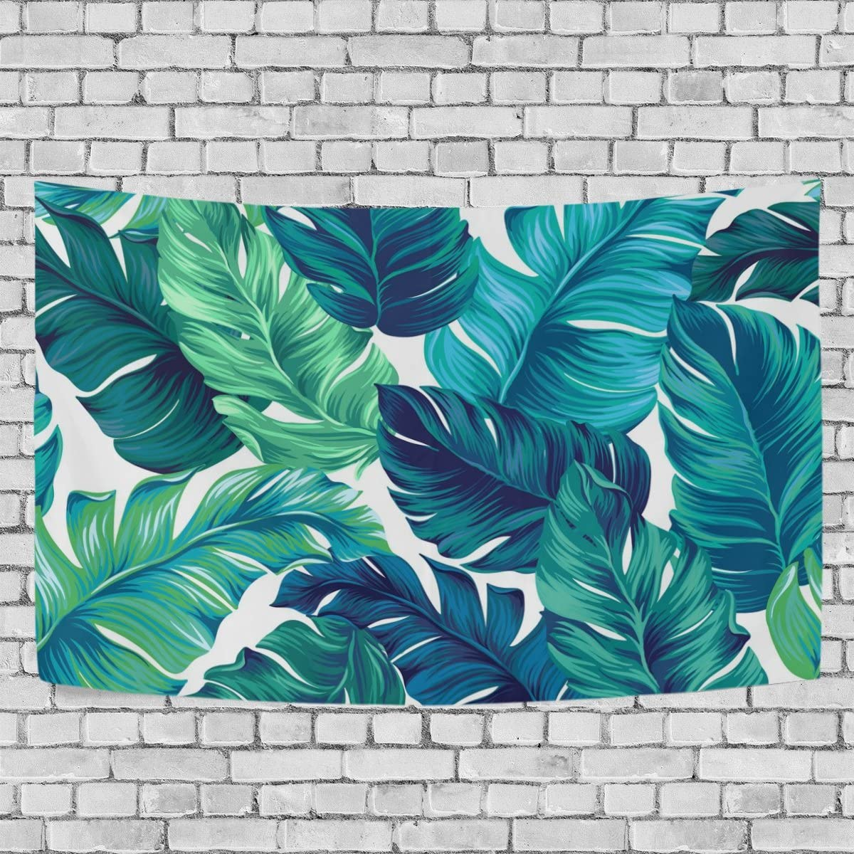 ALAZA Watercolor Turquoise Green Tropical Leaves Tapestry Dorm Throw Bedroom Living Room Decorative Window Doorway Wall Hanging Curtain 80×60 inch