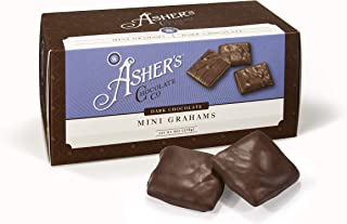 product image for Asher's Chocolates, Gourmet Chocolate Covered Mini Grahams, Small Batches of Kosher Chocolate, Family Owned Since 1892, Snack Size Box (6 oz, Dark Chocolate)