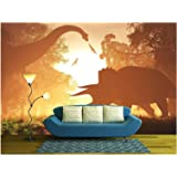 wall26 - Dinosaurs in Prehistoric Jungle in The Sunset Sunrise 3D Artwork - Removable Wall Mural | Self-Adhesive Large…