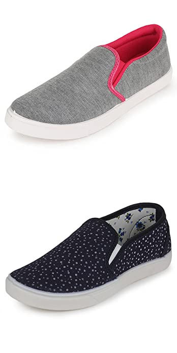 12e2fc3b960e Scantia Women s Combo of Casual Shoes (Navy Blue and Grey-Pink) - Pack