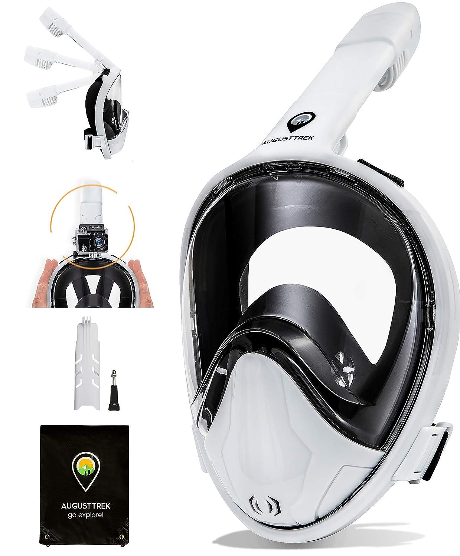 AugustTrek GoPro互換シュノーケルマスク ギフト用 フルフェイスデザイン 折りたたみ式 チューブとアップグレードされたワイド180°レンズ 市場で最大級 呼吸を快適に、改良されたイージーブリーシングテクノロジー。 B07FZWMZ7G Ghost White Small/Medium