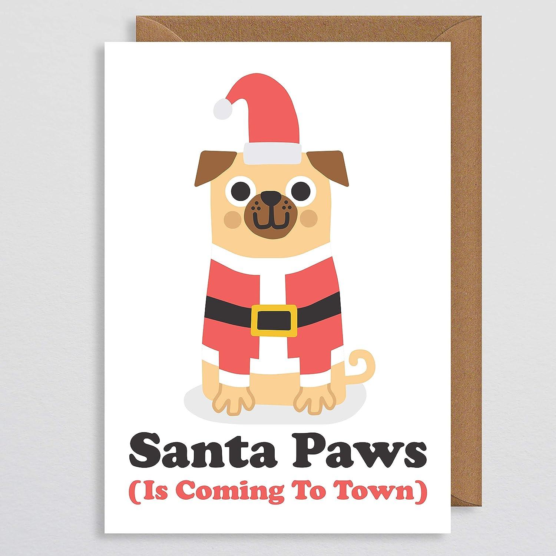 Dog Christmas Cards.Santa Paws Is Coming To Town Dog Christmas Card