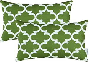 CaliTime Pack of 2 Soft Canvas Pillow Covers Cases for Couch Sofa Home Decor Modern Quatrefoil Accent Geometric 12 X 20 Inches Olive Green