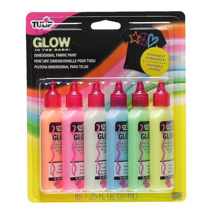 Tulip Glow - Botes de pintura para tejidos (relieve, brilla en la oscuridad, 6 unidades): Amazon.es: Juguetes y juegos