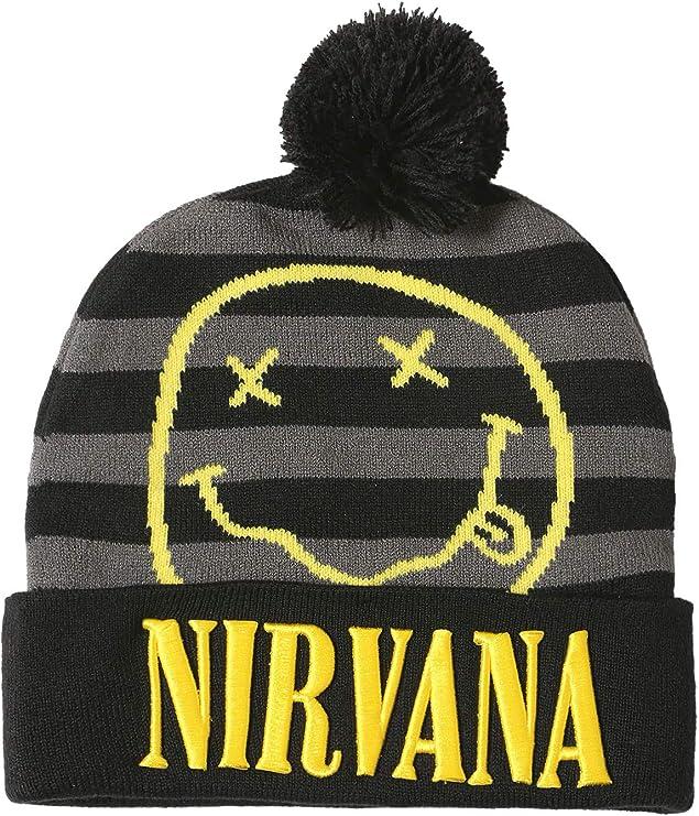 Black and gray stripes Nirvana beanie with pom pom