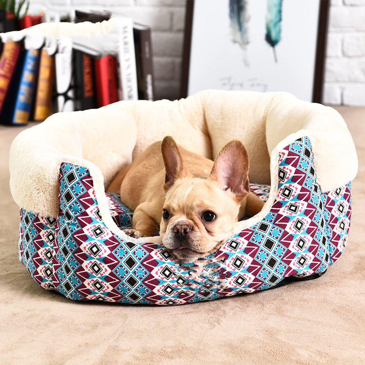 Beige S Beige S Pet Bed Pet Supplies Kennel Cat Nest Dog Mat Semi Removable Canvas Pet Nest,Beige-S