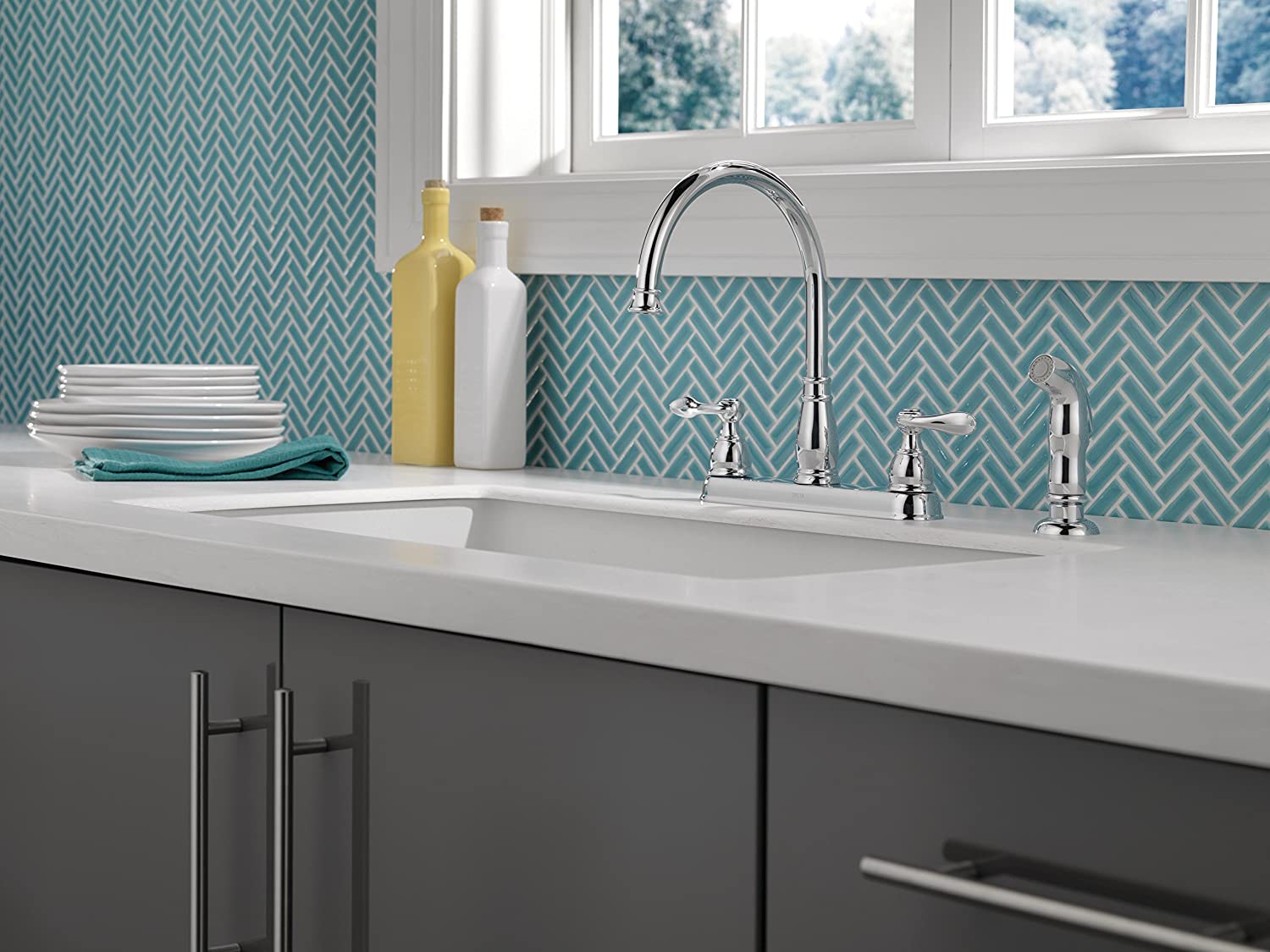 Delta 21996LF Windemere 2-Handle Kitchen Faucet with Matching Side ...