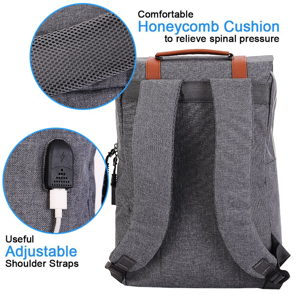 iCasso ligero funcional Durable Nylon bolsa de port/átil de viaje(blue)) Teimose mochila port/átil de 15,6 pulgadas con puerto de carga USB