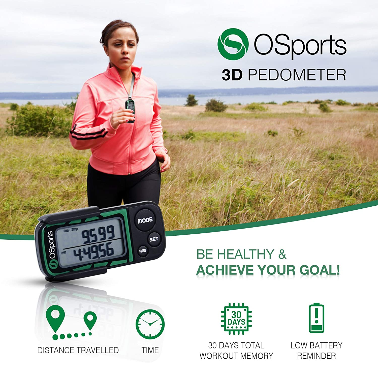 30 Days Memory Premium Calorie Step Distance Counter Daily Target Monitor Easy to Use! Exercise Time Clip /& Strap Perfect for Kids Women Men OSports 3D Pedometer for Walking /& Running