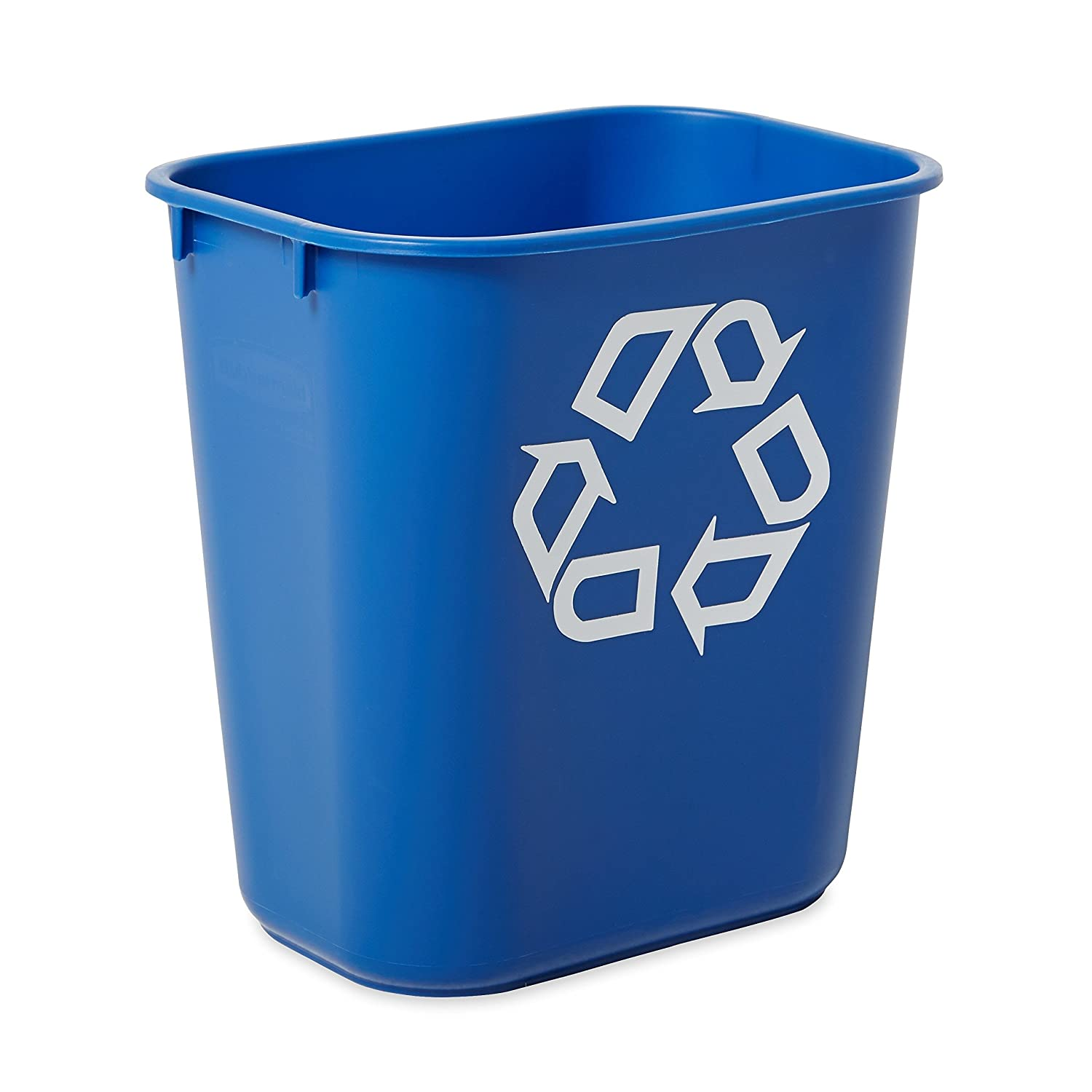 Rubbermaid Commercial Products FG295573BLUE Plastic Resin Deskside Recycling Can, 3.5 Gallon/13 Quart, Blue Recycling Symbol (Pack of 12)
