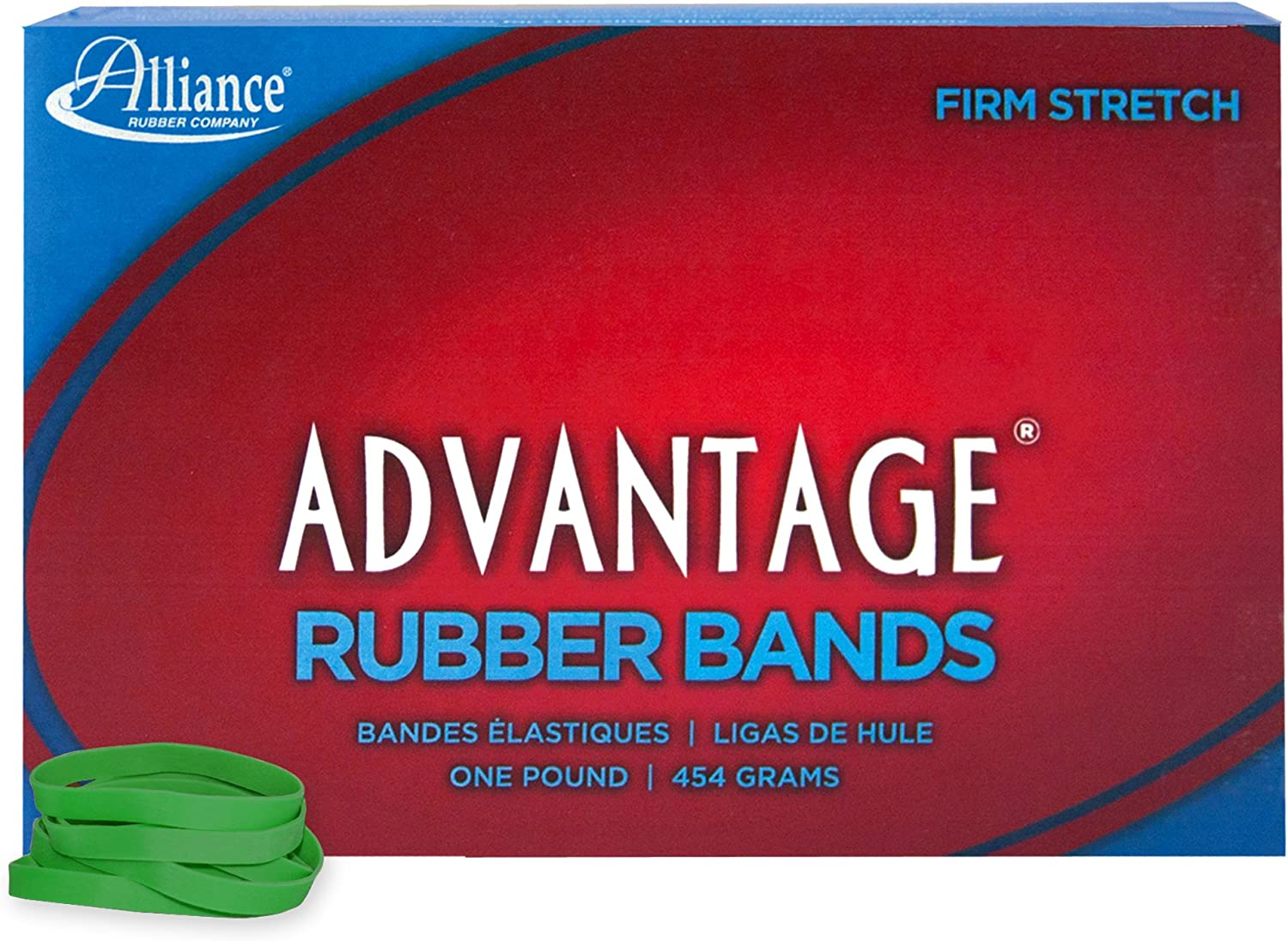 "Alliance Rubber 66625 Advantage Rubber Bands Size #62, 1 lb Box Contains Approx. 450 Bands (2 1/2"" x 1/4"", Green)"