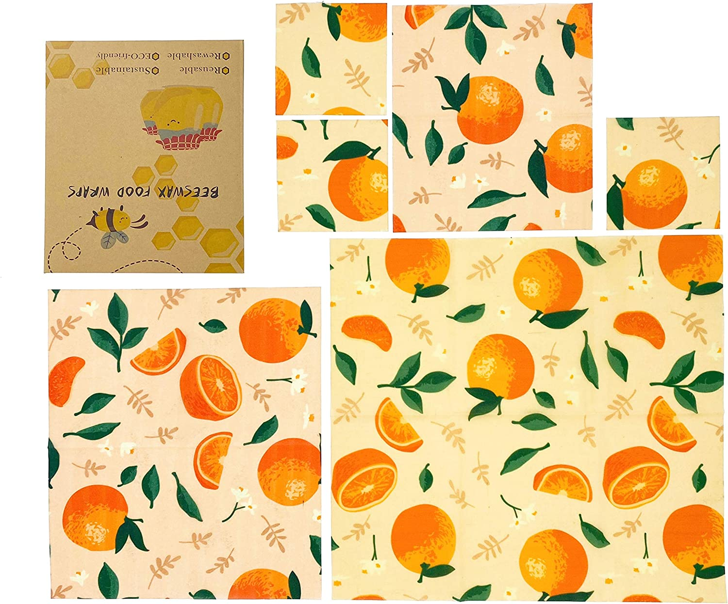 Beeswax Reusable Food Wraps,Beeswax Wrap set of 6,Zero waste,Eco Friendly Products,Sustainable Products,Reusable bags,Lock the Freshness of Food,Plastic Free for Food and Drink