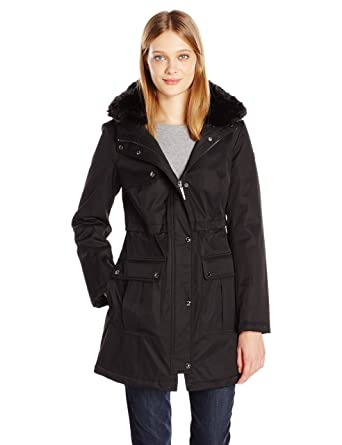 d25fbca2b94 kensie Women s Bonded Parka Jacket with Adjustable Waist Removable Faux Fur  Collar