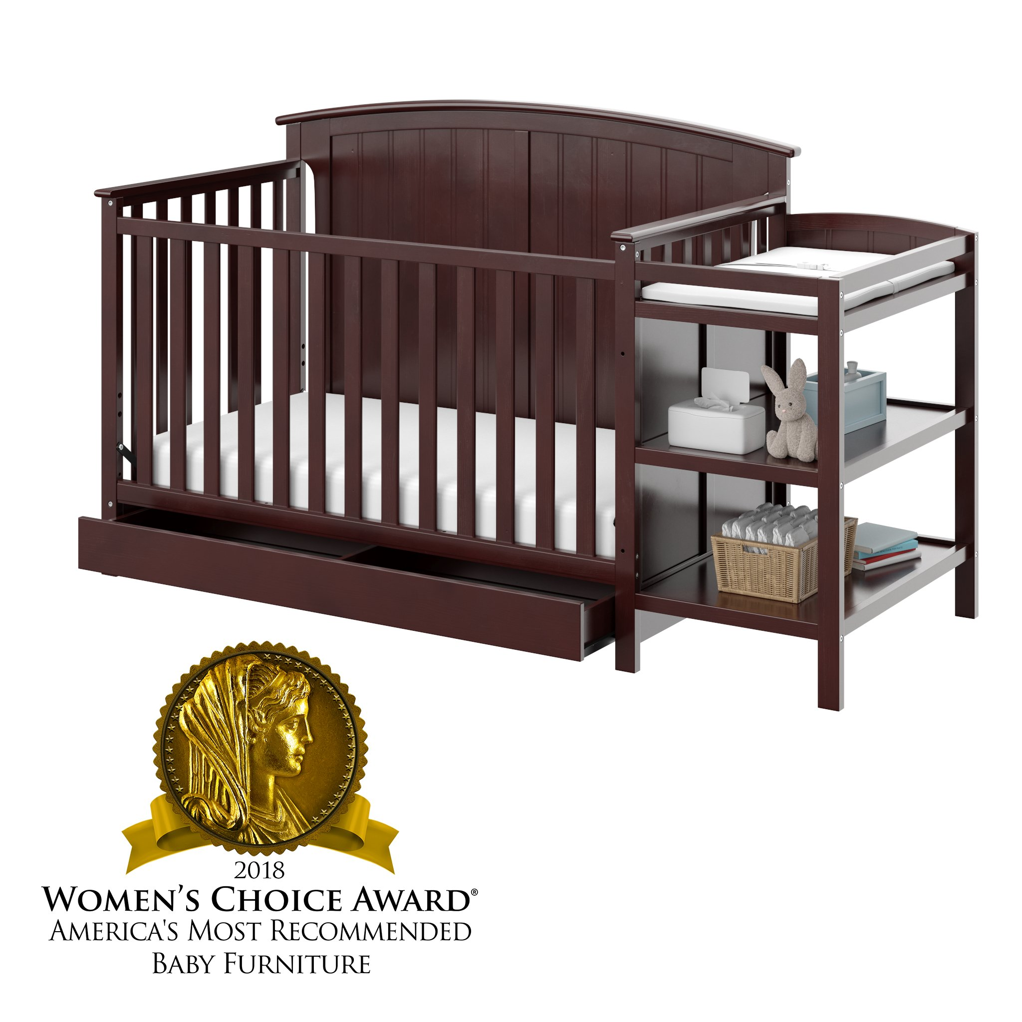 Storkcraft Steveston 4-in-1 Convertible Crib and Changer with Drawer, Espresso
