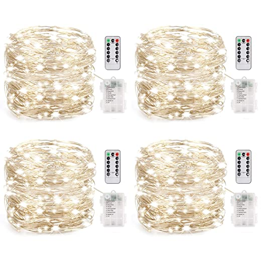 4 Set Fairy Lights Battery Operated Led String 8 Modes 16.4FT 50 LED Starry Copp