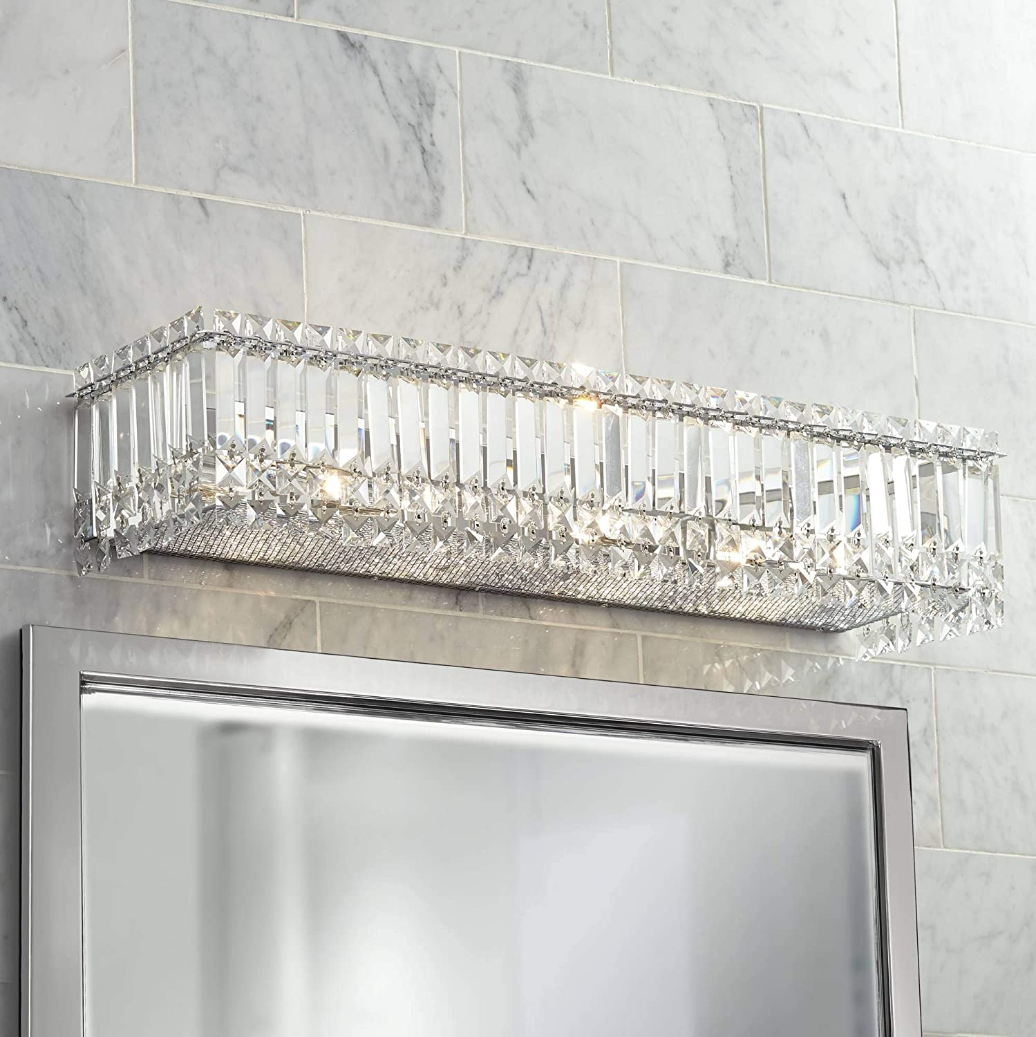 Modern Wall Light Cut Crystal Columns Chrome 30 Vanity Fixture for Bathroom Over Mirror – Possini Euro Design