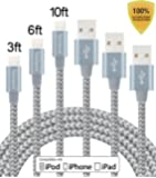 Tecland 3 Pack 3FT 6FT 10FT Lightning Cable Nylon Braided Lightning to USB Charging Cord Charger for iPhone 6s,6, 6plus,6s plus, iPhone 5s 5 5c SE, iPad & iPod (gray+silver)