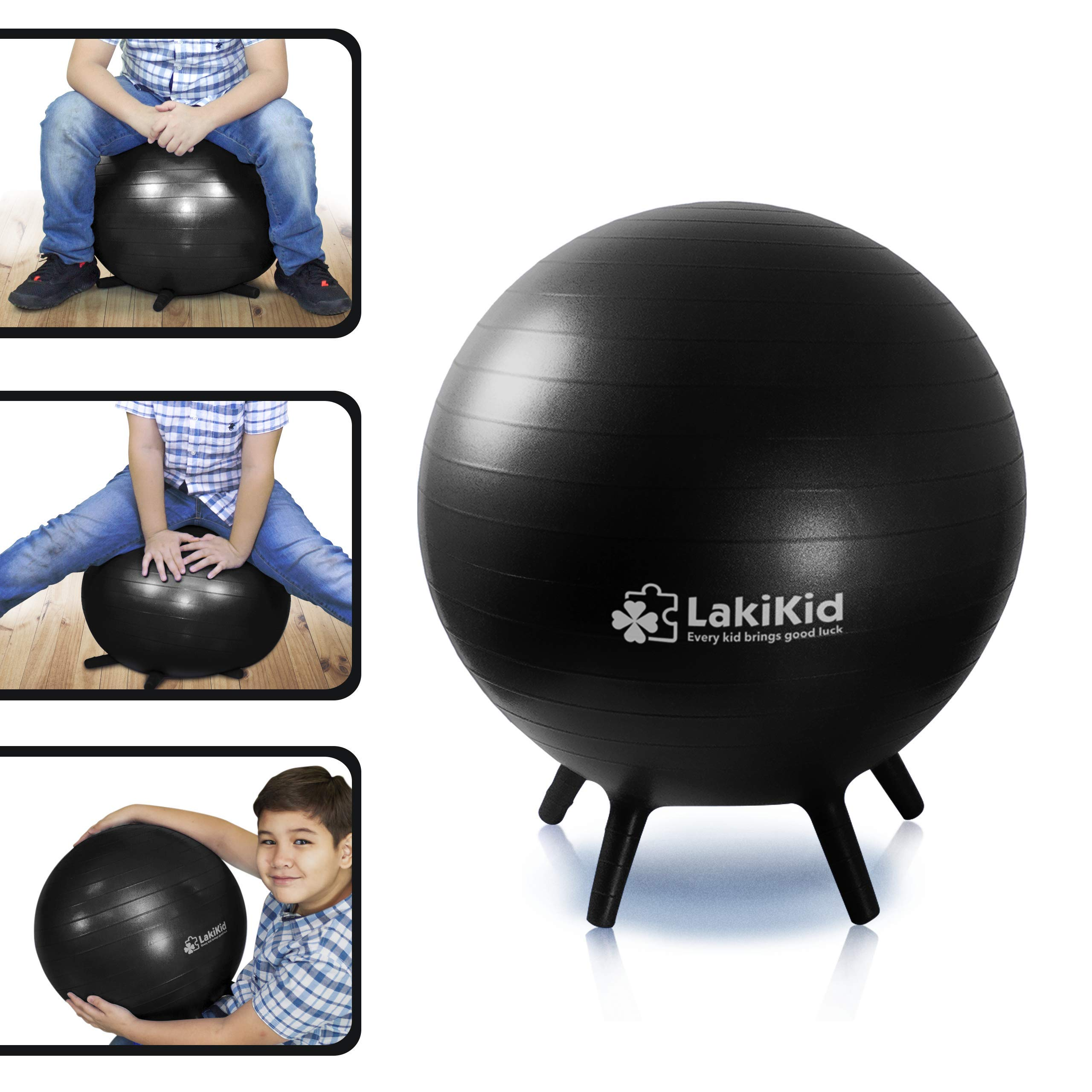 LakiKid Balance Ball Chairs for Kids - Perfect Stability Balls for Flexible Seating Classroom - Fun Alternative Seating for Students (Kids (45cm), Black)