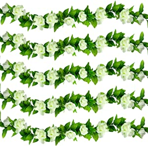 ASHINER 5 Pack 37.5 FT Artificial White Flowers Garland Fake Rose Vines Decor Faux Wall Hanging Plants for Wedding Arch Garden Home Party