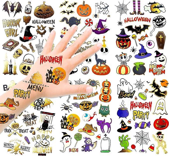 HOWAF Niños Halloween Tatuajes Temporales Kit, 120+ Brillo Impermeables Falso Tatuajes Pegatinas Halloween para Niños Halloween Maquillaje Disfraz ...