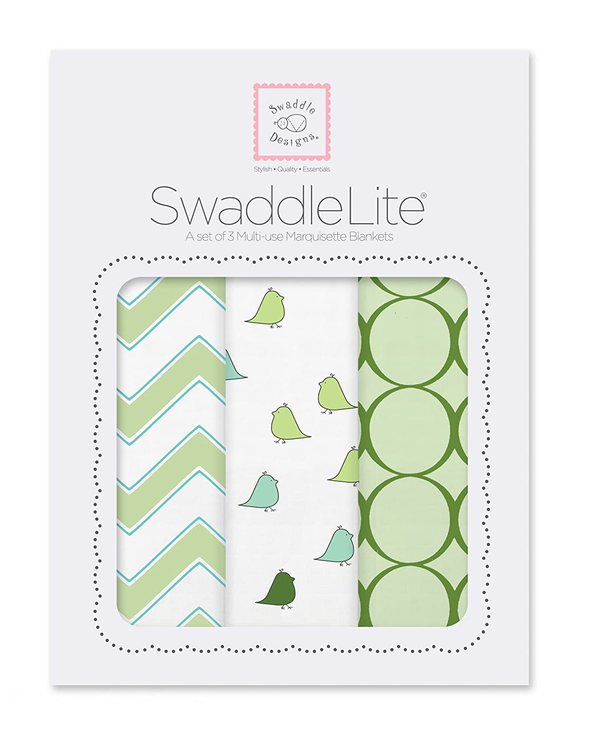 SwaddleDesigns Marquisette Swaddle Blankets, Premium Cotton Muslin, SwaddleLite Set of 3, Chic Chevron, Pink SD-360P