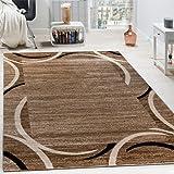 Wohnzimmer Teppich Bordüre Kurzflor Meliert Modern Hochwertig Grau Schwarz Braun, Grösse:160x220 cm