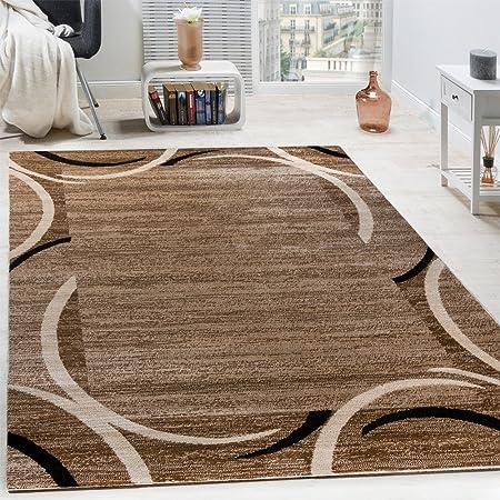 Paco Home Wohnzimmer Teppich Bordüre Kurzflor Meliert Modern Hochwertig  Schwarz Braun, Grösse:60x100 cm