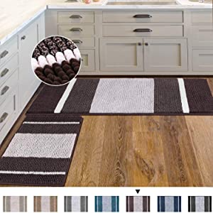 Bathroom Rugs Ultra Thick and Soft Texture Chenille Plush Striped Floor Mats Hand Tufted Bath Rug with Non-Slip Backing Microfiber Door Mat for Entryway, 2 Pack, 47