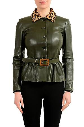 Gucci 100% Leather Fur Trimmed Green Women s Belted Basic Jacket US ... 2ba6b6d7c