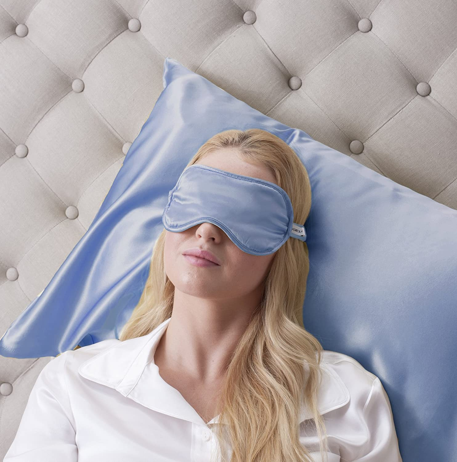 Jasmine Silk 100% Pure Silk Filled Eye Mask / Sleeping Mask Sleep Mask - Baby Blue SummerLand