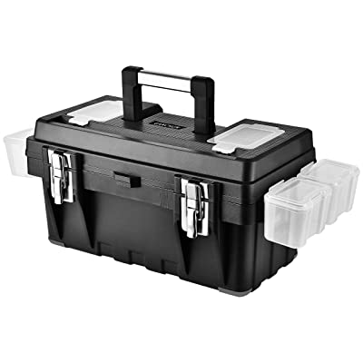 GANCHUN 16-Inch Plastic Tool Box with Spare Parts Boxes, Removable Partitions and Multiple Compartments Toolbox for Home Tool Storage