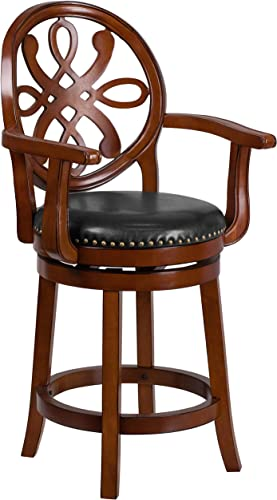 Flash Furniture 26 High Brandy Wood Counter Height Stool with Arms, Carved Back and Black LeatherSoft Swivel Seat