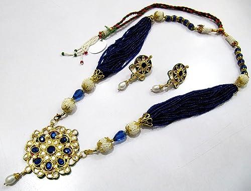 Indian traditional kundan polki pendant set with blue beads strings indian traditional kundan polki pendant set with blue beads strings meenakari enamel rajwada style necklace aloadofball Choice Image