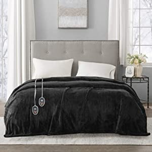Beautyrest Heated Plush Elect Electric Blanket with 20 Heat Level Setting Controllers Equip with Secure Comfort Technology and 10 Hours Auto Shut Off - 5 Years Warranty, King: 90x100, Black