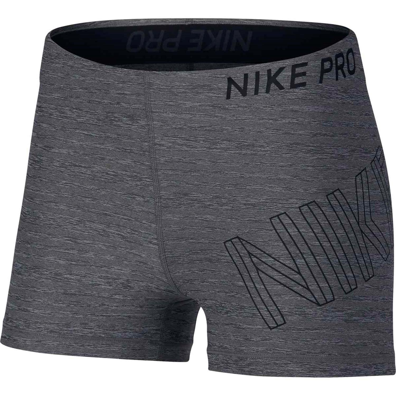 NIKE Pro Womens Training Shorts 3IN,Carbon Heather,One Size by Nike