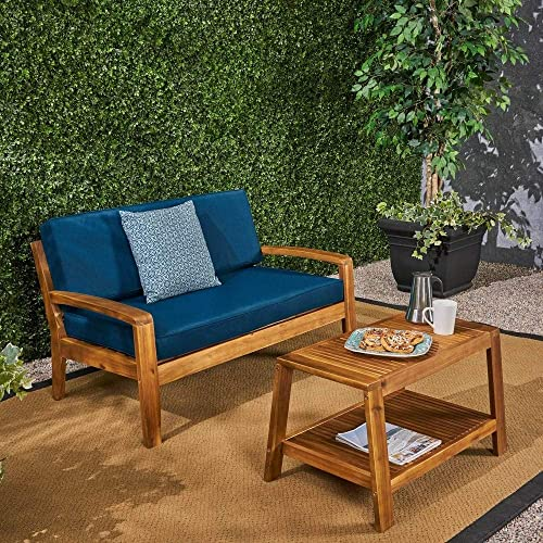 Christopher Knight Home Grenada Outdoor Cushioned Acacia Loveseat/Coffee Table Set
