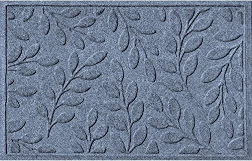 Bungalow Flooring Waterhog Doormat, 2 x 3 Made in USA, Durable and Decorative Floor Covering, Skid Resistant, Indoor Outdoor, Water-Trapping, Brittney Leaf Design, Bluestone