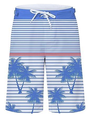 2d6dbe601fce7 Mens Blue and White Stripe Swim Trunks Beach Shorts Bathing Suit Palm Tree Swim  Trunks Guys