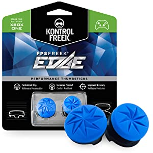 KontrolFreek FPS Freek Edge for Xbox One Controller | Performance Thumbsticks | 1 High-Rise Convex, 1 Low-Rise Convex | Blue