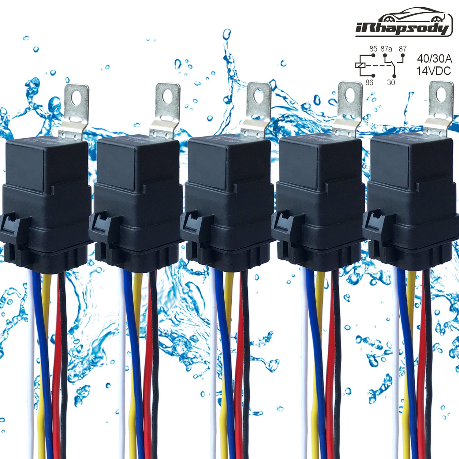 5 PACK 40/30 AMP Waterproof Relay and Harness - Heavy Duty 12 AWG Wiring Harness - 12V DC 5-PIN SPDT Bosch Style Automotive Relay IRHAPSODY