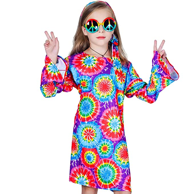 Hippie Dress | Long, Boho, Vintage, 70s Girls 60s 70s Flower Hippie Costume Fancy Dress $19.50 AT vintagedancer.com