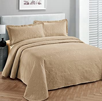 Fancy Collection 3pc Luxury Bedspread Coverlet Embossed Bed Cover Solid  Taupe New Over Size 118u0026quot;