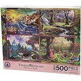 Disney Thomas Kinkade Set of 4 500 Piece Puzzles Puzzle Snow White Little Mermaid Sleeping Beauty Cinderella