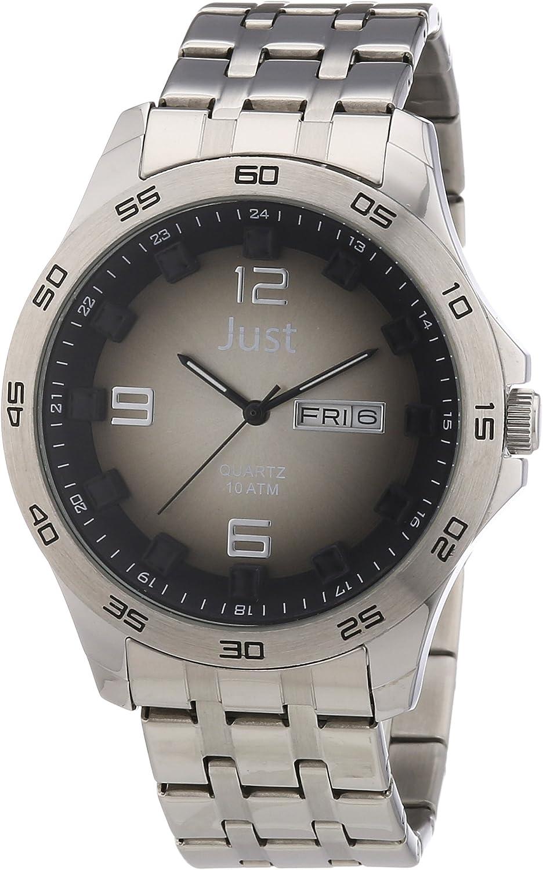 Just Watches 48-S3455-Bk-BK - Reloj analógico de cuarzo para hombre, correa de acero inoxidable color plateado
