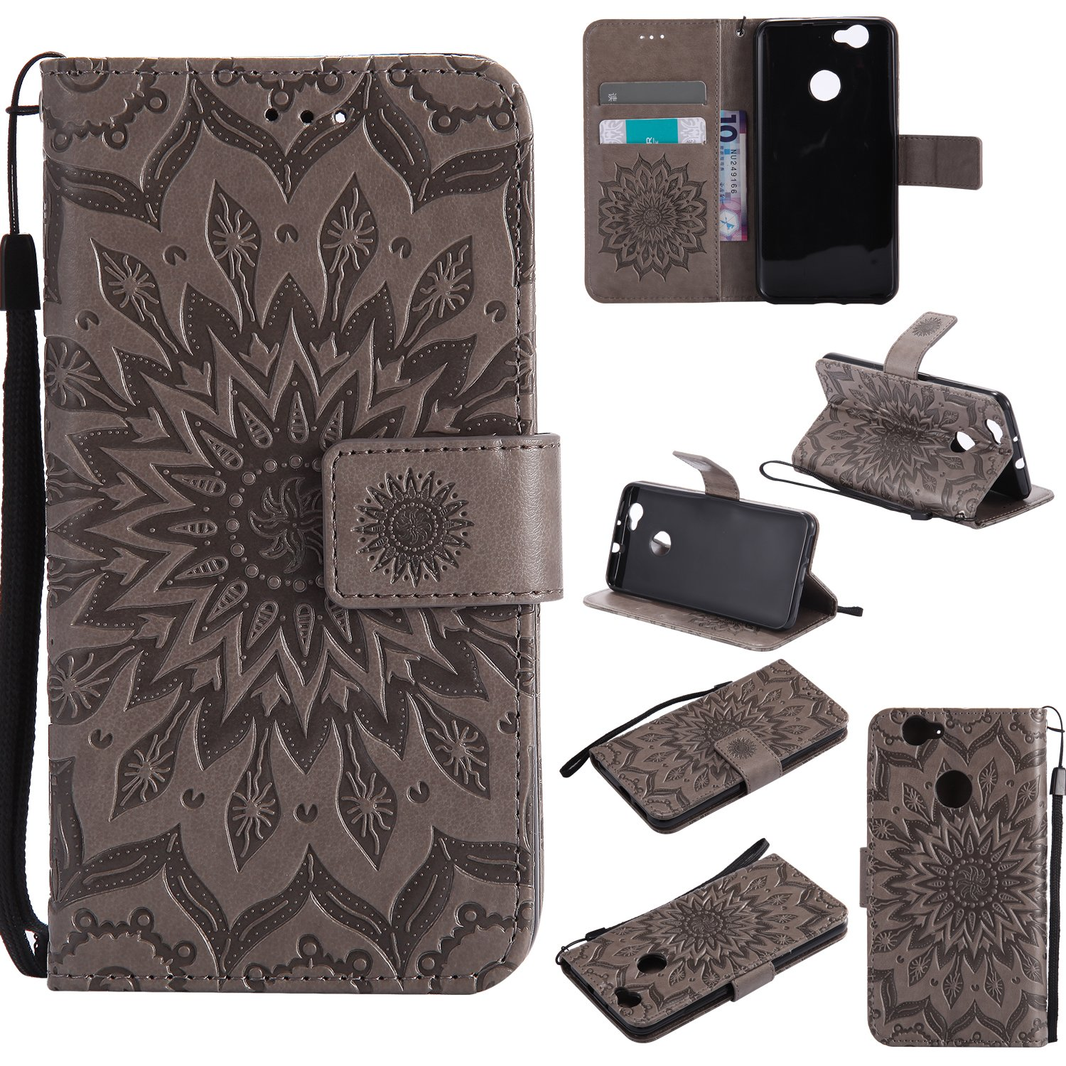 For Huawei Nova Case [Gray], Cozy Hut [Wallet Case] Magnetic Flip Book Style Cover Case , High Quality Classic New design Sunflower Pattern Design Premium PU Leather Folding Wallet Case With [Lanyard Strap] and [Credit Card Slots] Stand Function Folio Prot