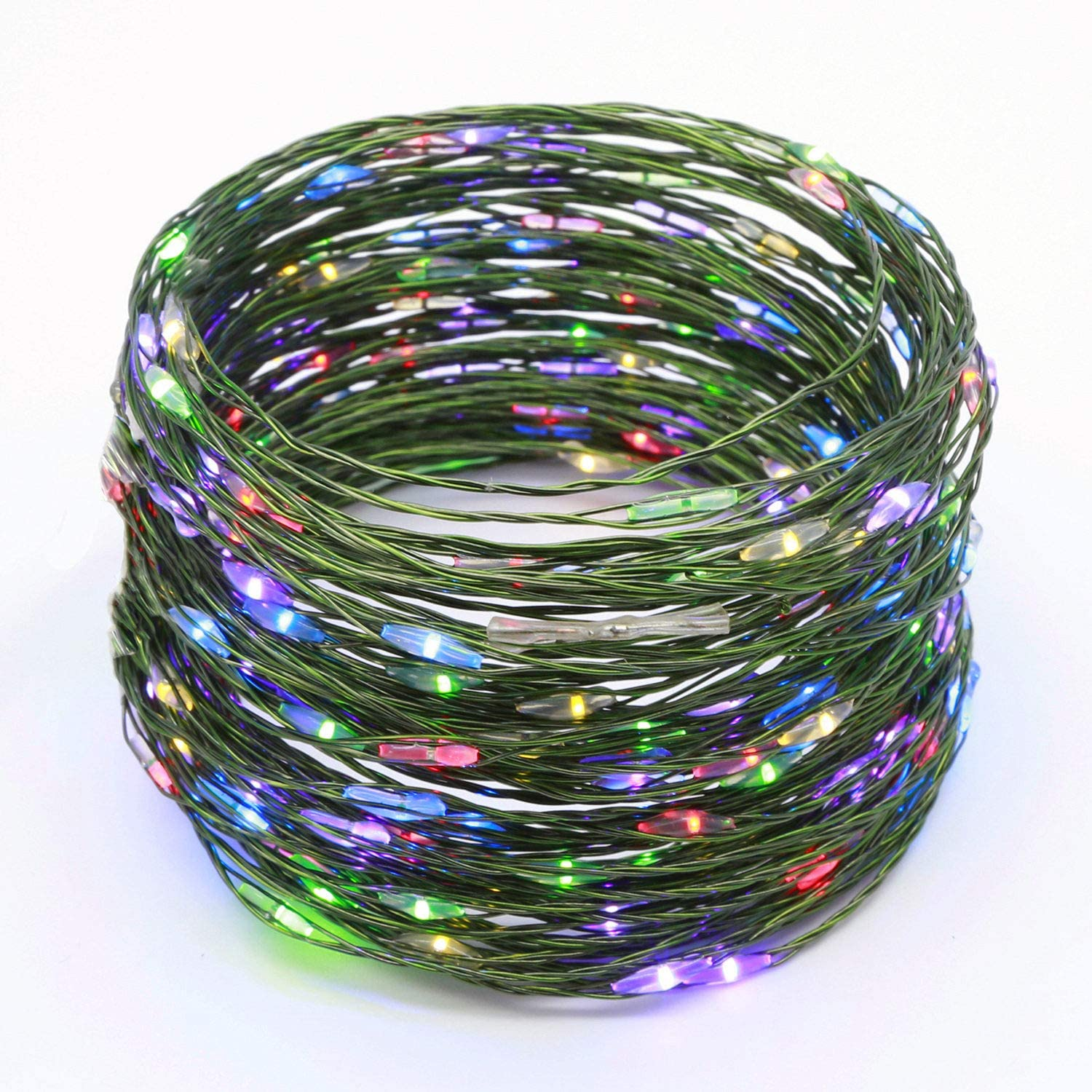 YULETIME Fairy String Lights with Adapter, 50 Feet 150 LEDs Waterproof Starry Copper Wire Lights, Home Decor Firefly Lights for Garden Backyard Christmas Tree (Multicolor, Green Wire)