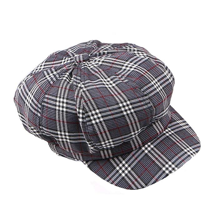 f1de78d5480 Octagonal Hats Women Plaid Flat Caps Casual Vintage British Female Newsboy  Gatsby Cap Cotton Stylish Spring