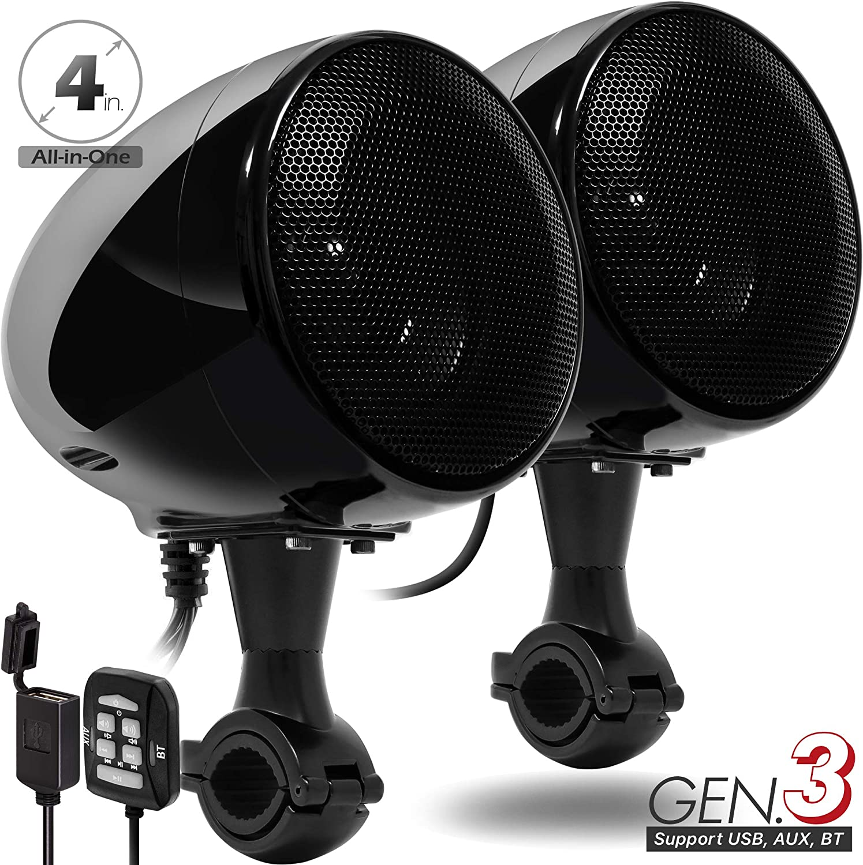 "GoHawk AN4 Gen.2 All-in-One Built-in Amplifier 4"" Full Range Waterproof Bluetooth Motorcycle Stereo Speakers Audio Amp System w/AUX for 7/8 to 1-1/4 Bar Harley ATV RZR UTV 4 Wheeler (AN4 Black)"