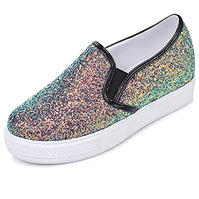 d57756c1b1fb Odema Womens Glitter Sparkly Sequin Platform Sneakers Slip On Shoes Loafers  Black