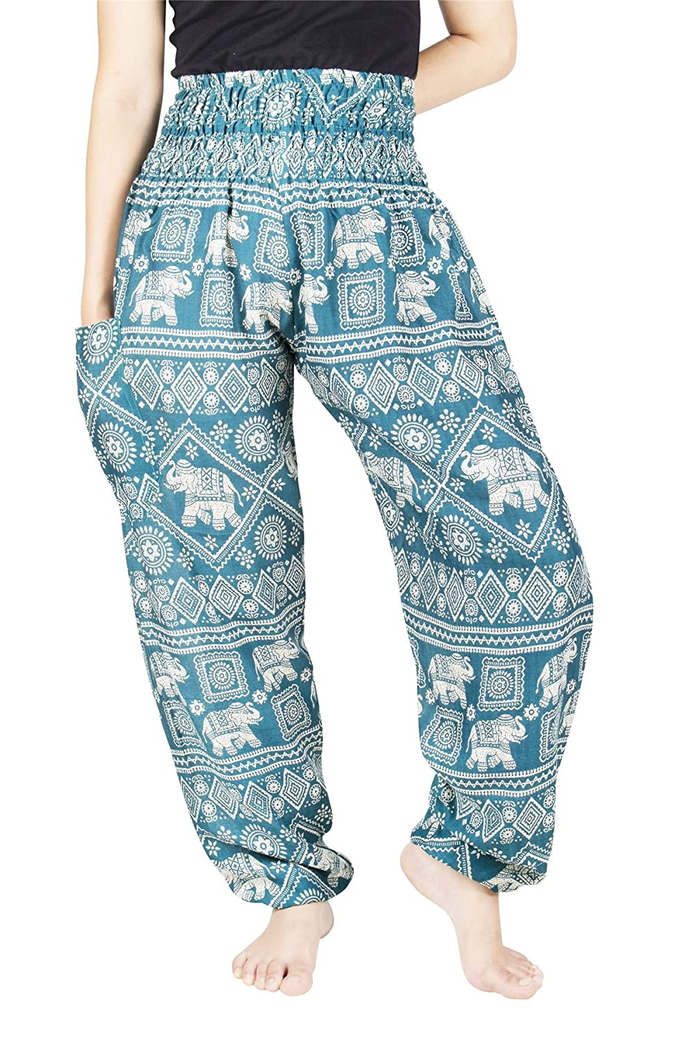 Lofbaz Women's Flower Elephant Printed Boho Pants